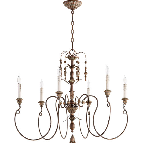 quorum lighting salento vintage copper 32-inch six-light chandelier NKHWFZA