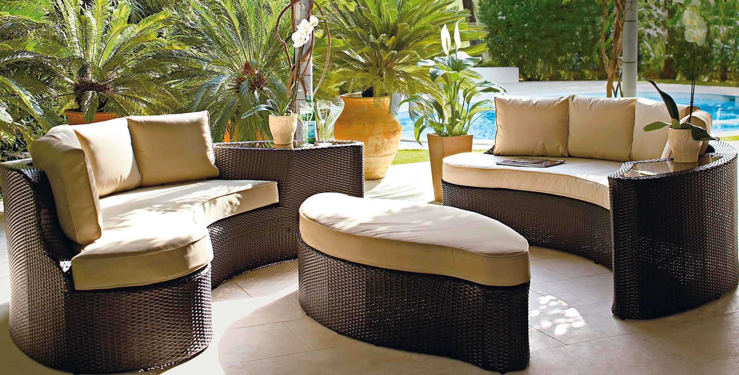 rattan effect garden furniture collection rattan effect 6 seater patio sofa set 2 sofas652/3835 MSTSLXQ