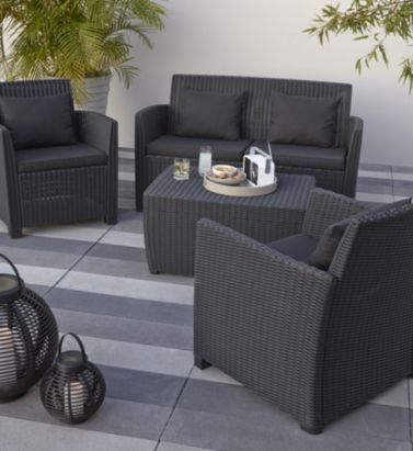 rattan effect garden furniture elsa rattan effect 4 seater coffee set, 5397007154085 HYVZDKI