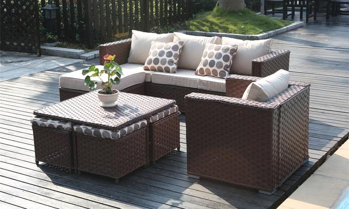 rattan effect garden furniture groupon goods global gmbh: monaco nine-seater rattan-effect garden furniture  set for SCMHMRP