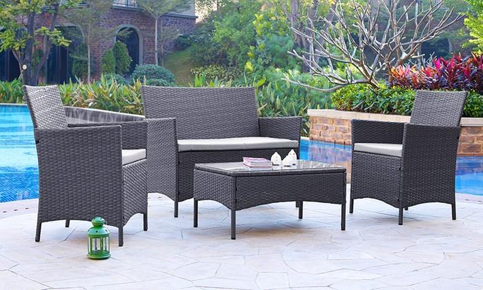 rattan effect garden furniture rattan garden furniture set | groupon goods LBWIGML