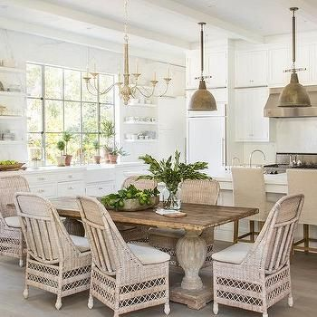reclaimed wood dining table with wicker dining chairs CIVWAZC