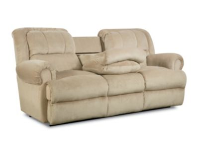 recliner sofas evans double reclining sofa with fold-down tray table RYRKIGU