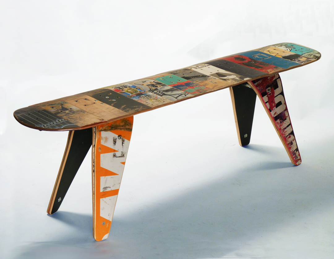 recycled furniture recycled skateboard bench recycled skateboard seat with engineering wooden  leg furniture from SHUGSIP