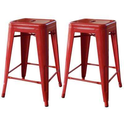 red bar stools stackable metal bar stool in red (set of 2) HIDQJSP