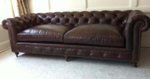 restoration hardware tufted leather sofa - new!!! 98 inch kensington model  .99 YGACCZU