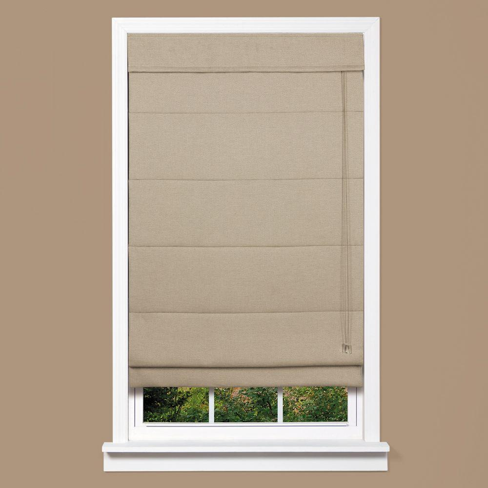 roman shades gray textured fabric inaccessible cord roman shade - 23 in. w x 64 LKPYQLQ