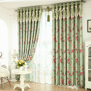 romantic floral green blackout shabby chic curtains JXIANZS