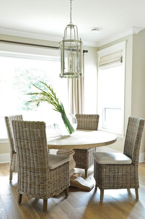 round salvaged wood dining table with wicker dining chairs, transitional,  dining room TSKTAFH