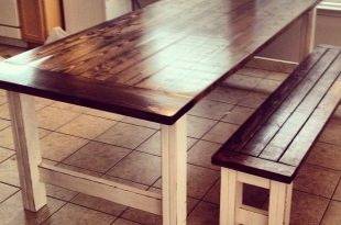 rustic dining table stained and distressed farmhouse table and bench | do it yourself home FRCKEOT