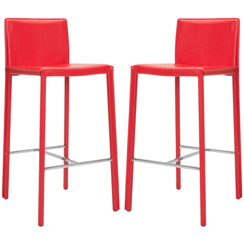 safavieh home furniture enzo 30-inch red bar stools, set of 2 YTGRPWA