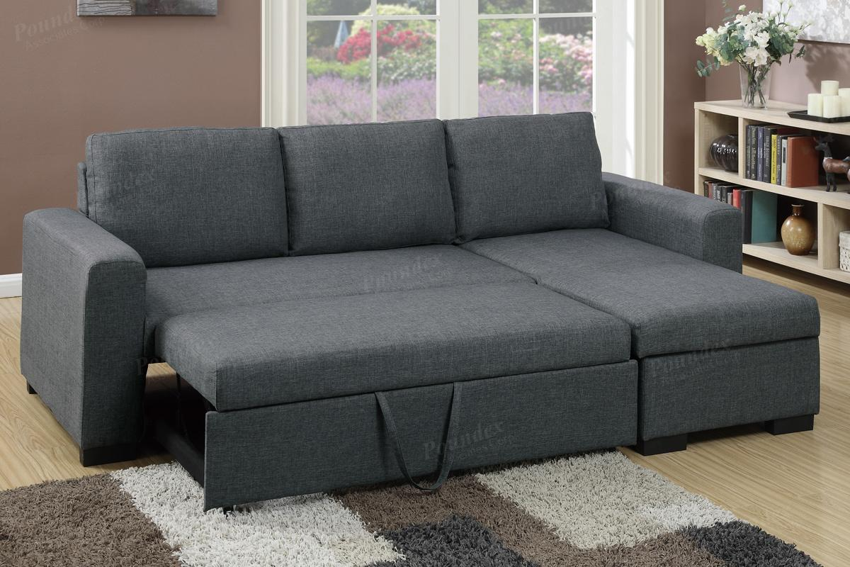 samo grey fabric sectional sofa bed AZXZAEQ