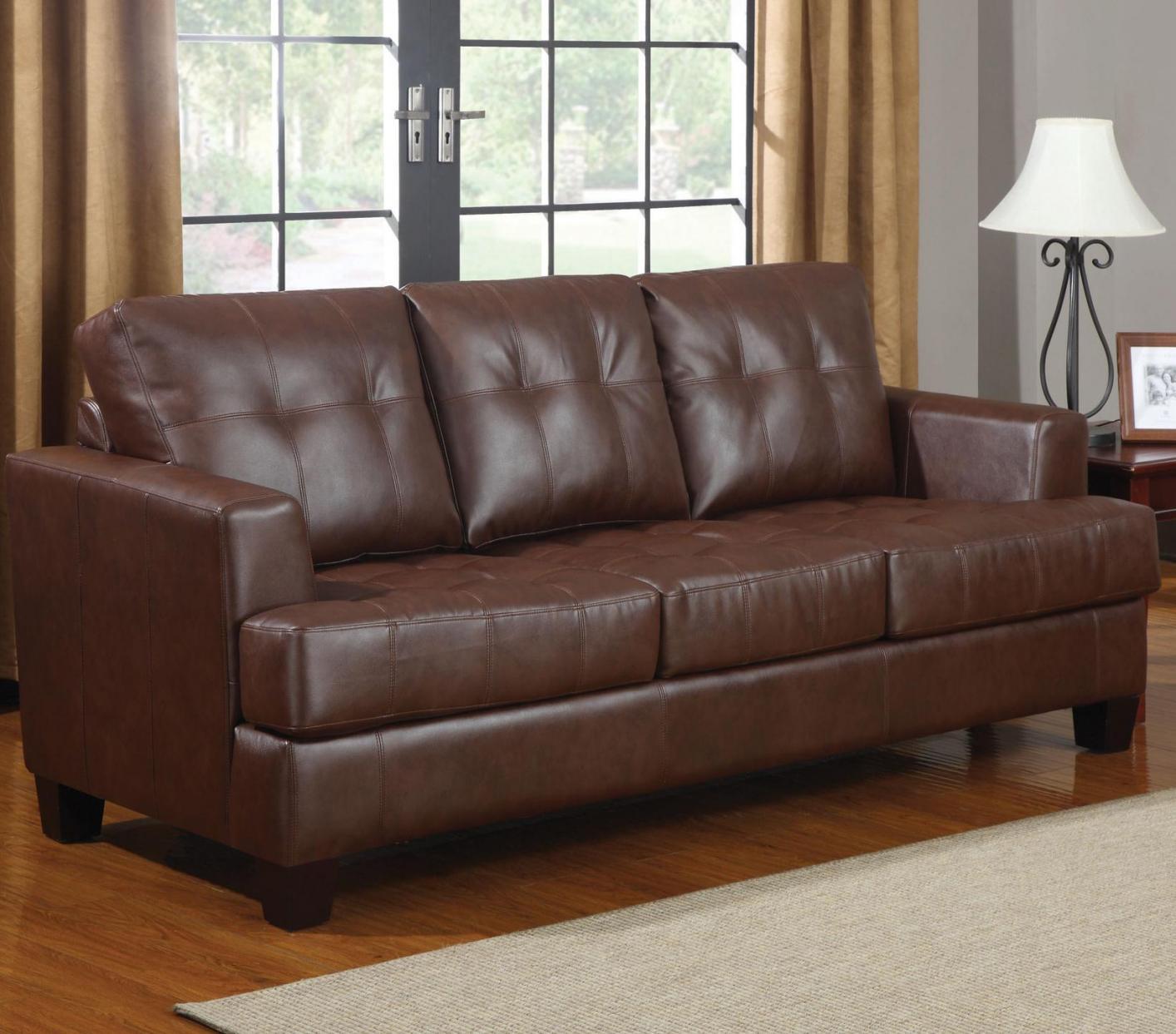 samuel brown leather sofa bed samuel brown leather sofa bed ... XDWBLKJ