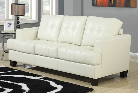 samuel collection cream leather sofa by coaster home furnishings NPYOPRR