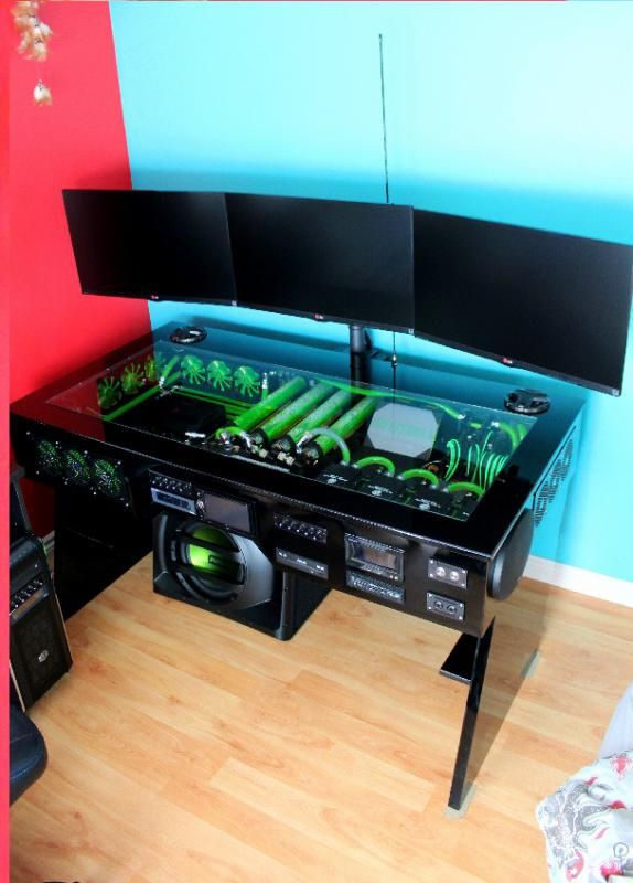 scratch build water cooled pc desk mod with built in car sound system JLSBABC