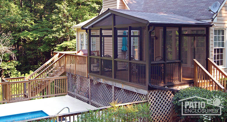 screened in porch bronze aluminum frame screen room with gable roof DRPEPNG