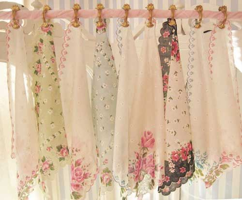 shabby chic curtains idea for shabby chic curtain topper using hankerchiefs RQSLXHL