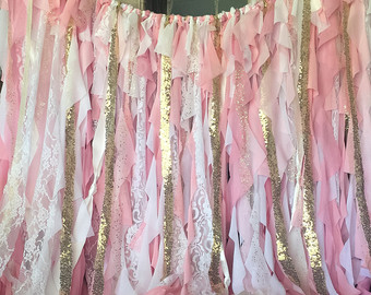 shabby chic curtains pink and gold birthday, pink and gold birthday banner, pink and gold BJOCQHS