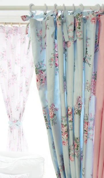 shabby chic curtains shabby chic blue rose curtain FPYRRSK