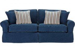 shop for a cindy crawford home beachside blue denim sofa ODANMTO