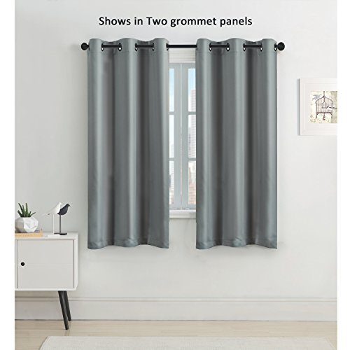 short curtains flamingop blackout solid pattern drape, room darkening, grommet top, single  panel 63 YLZOSNJ