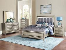 silver bedroom furniture gordon - 5pcs modern bedroom set furniture w/ silver vinyl queen panel bed ITXKSWN