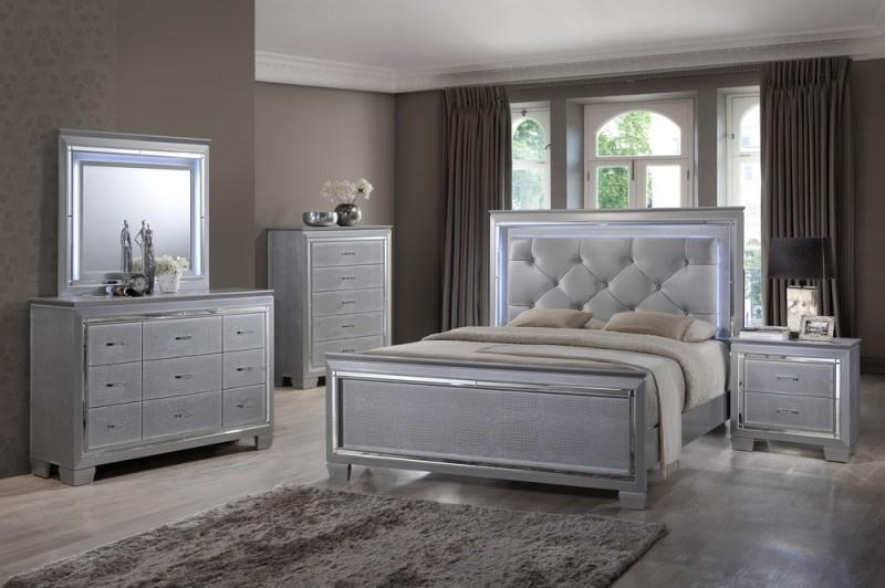 silver bedroom furniture martina queen/king bedroom set - ma7000 - myco - silver - led lights GCVITZG