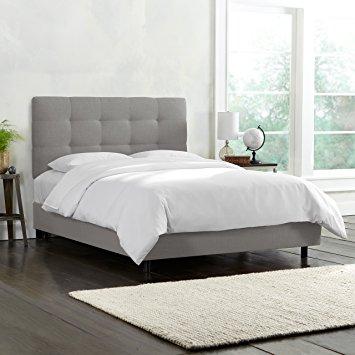 skyline furniture tufted bed, king, linen grey JYTIBUP