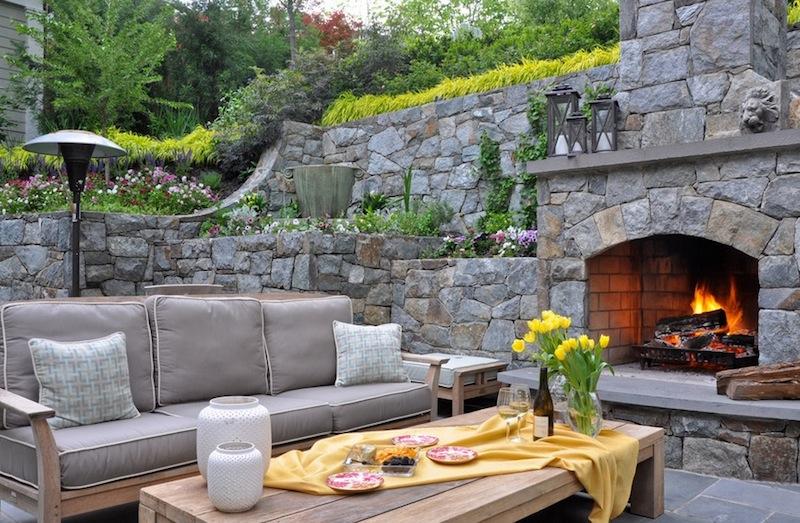 small backyard ideas gray seating set QWJUTZV