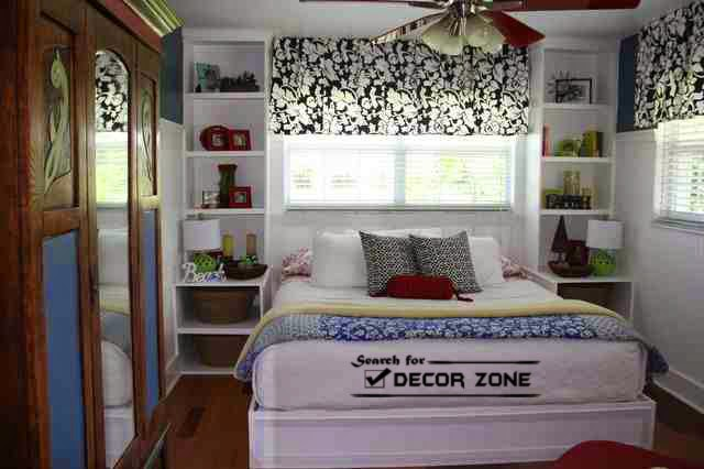 small bedroom furniture ideas- shelves instead of nightstands HOZCXXV