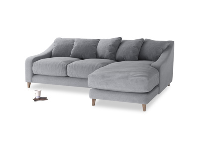small corner sofa large right hand oscar chaise sofa in dove grey wool ... DCZNPPJ