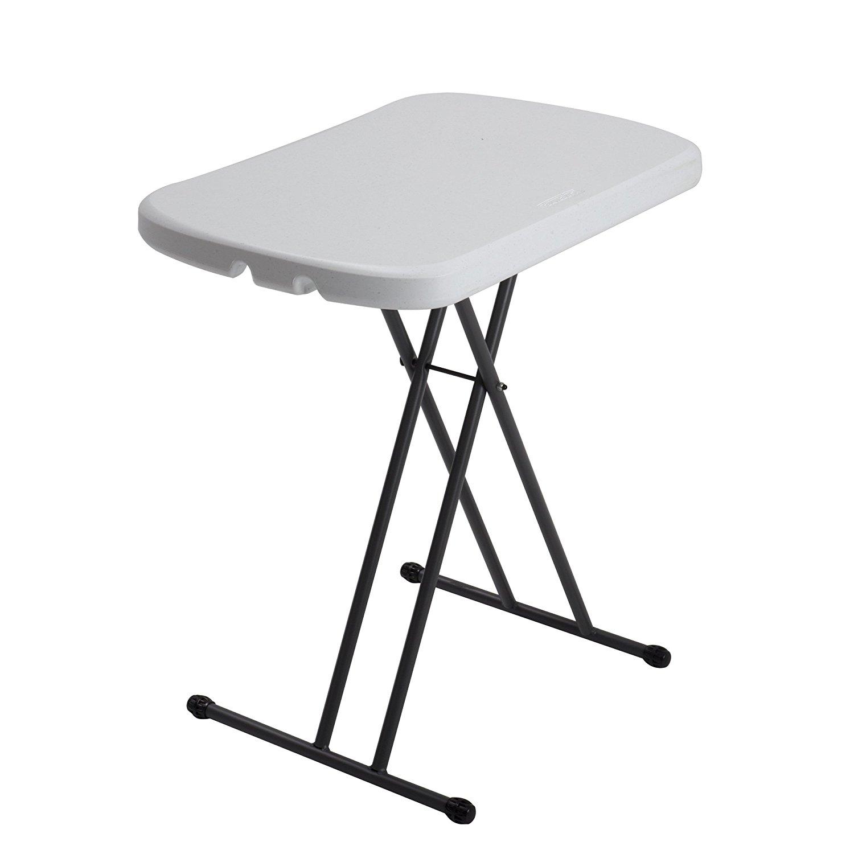 small folding table amazon.com: lifetime 80251 height adjustable folding personal table, 26  inch, white granite: LMPQSLX