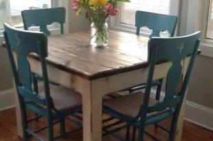 small kitchen table beautiful primitive distressed rustic dark walnut stain country white cabin  farmhouse 42x42x31h EJCCXON