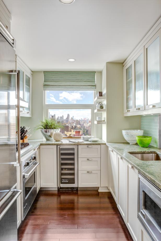 small kitchens galley kitchen exudes a cool, calm charm PFYMLAK