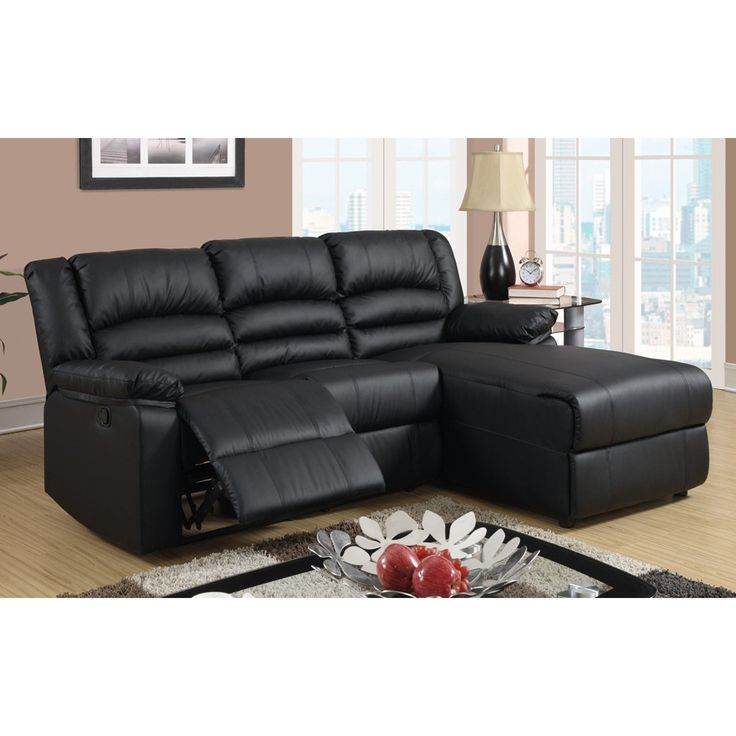 small sectional sofas madison modern bonded leather small space sectional reclining sofa with  chaise (black) ABHOBGH