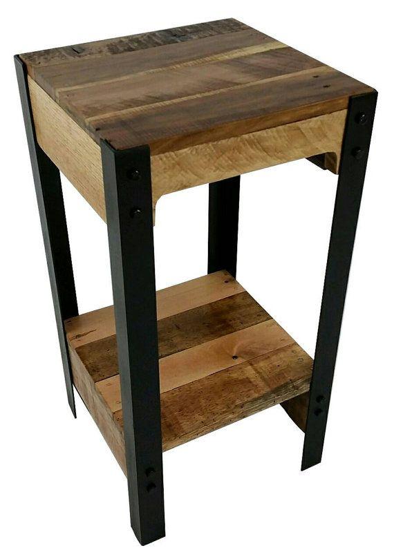small tables moderne de palette bois et acier côté table par thewoodgaragellc HZXPJFE