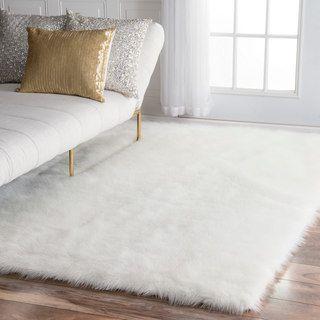 snowy white polar bear rectangular white sheepskin faux fur rug (3u00273 x 4u00277) EXQXXLV