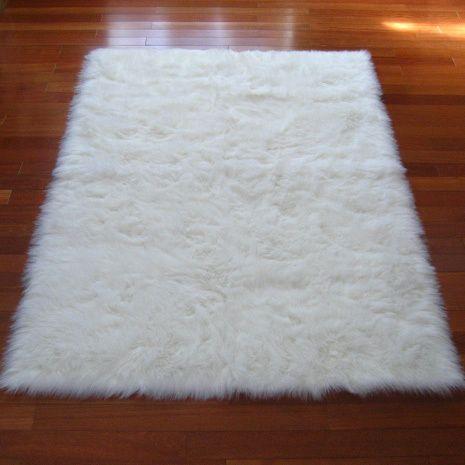 snowy white polar bear rectangular white sheepskin faux fur rug (3u00273 x 4u00277) XWLFYMD