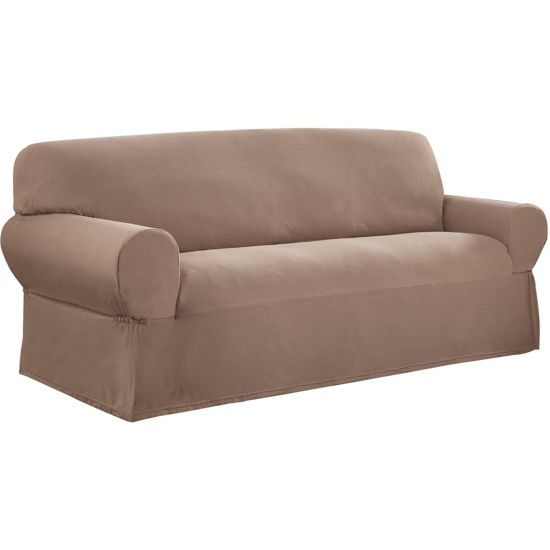 sofa cover mainstays 1-piece stretch fabric sofa slipcover - walmart.com ZYBGFDK