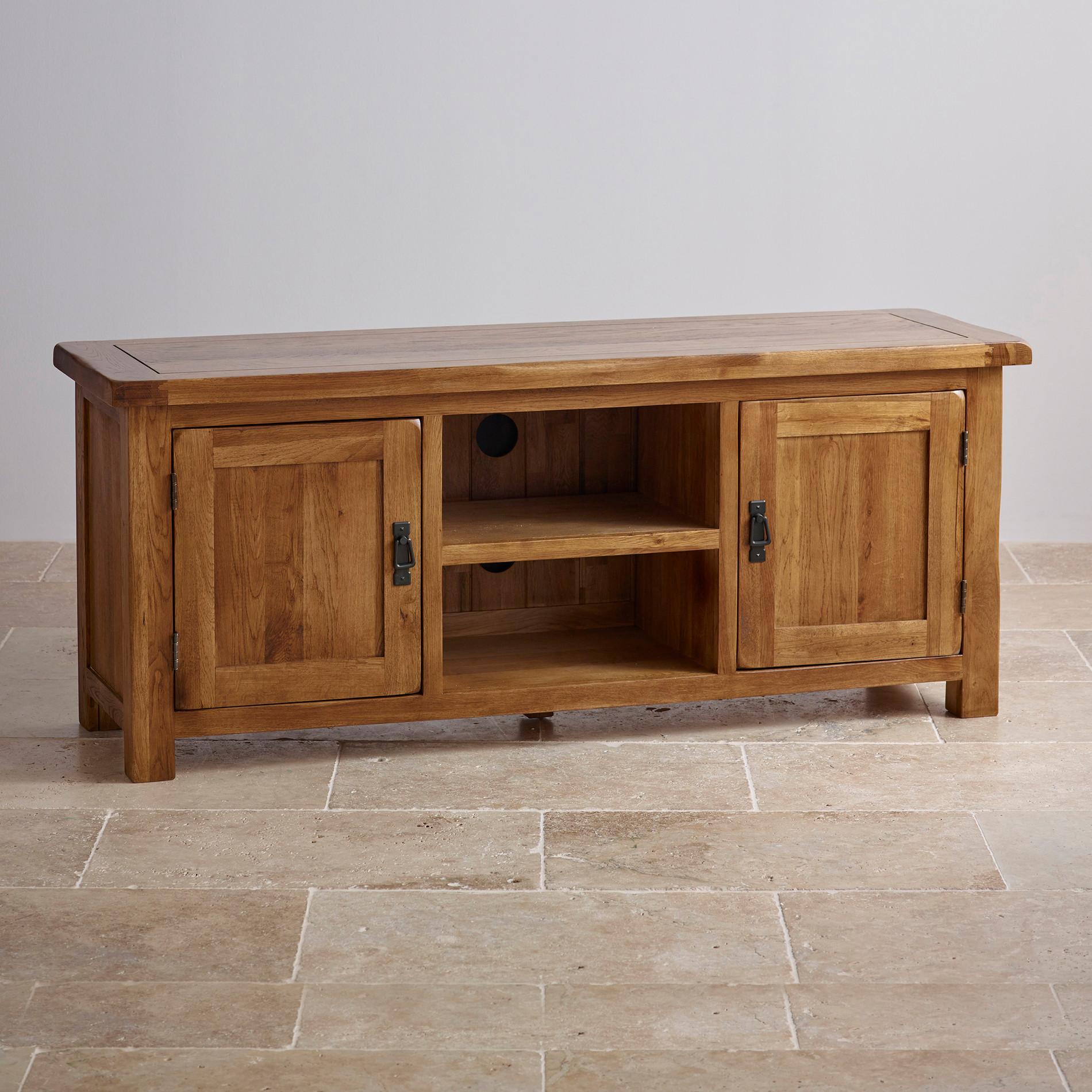 solid oak furniture original rustic wide tv cabinet in solid oak | oak furniture land RWHFEIZ