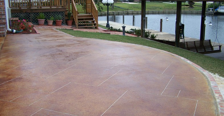 stained concrete patio red stain, sawcut grout lines concrete patios artistic concrete floors llc  madisonville, ESQZNYF
