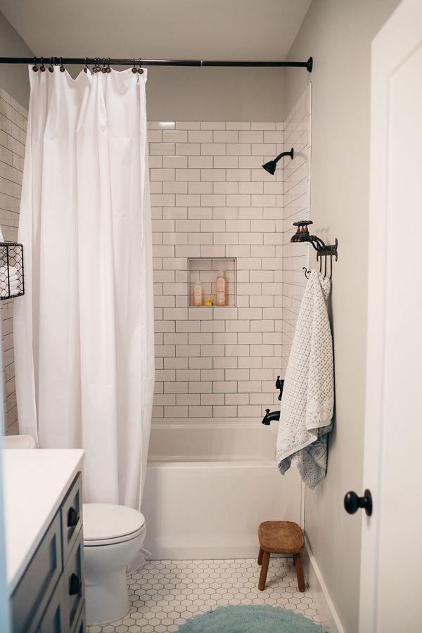 subway tile bathroom southern newlywed: the teasleyu0027s modern farmhouse. white subway tile  bathroomsubway ... FRLUKZS