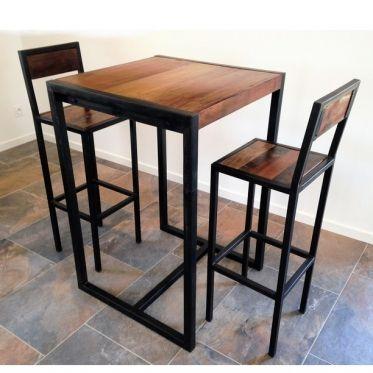 table bar ensemble comprenant 2 tabourets et une table haute factory. table haute  industrielle UPEAPXX