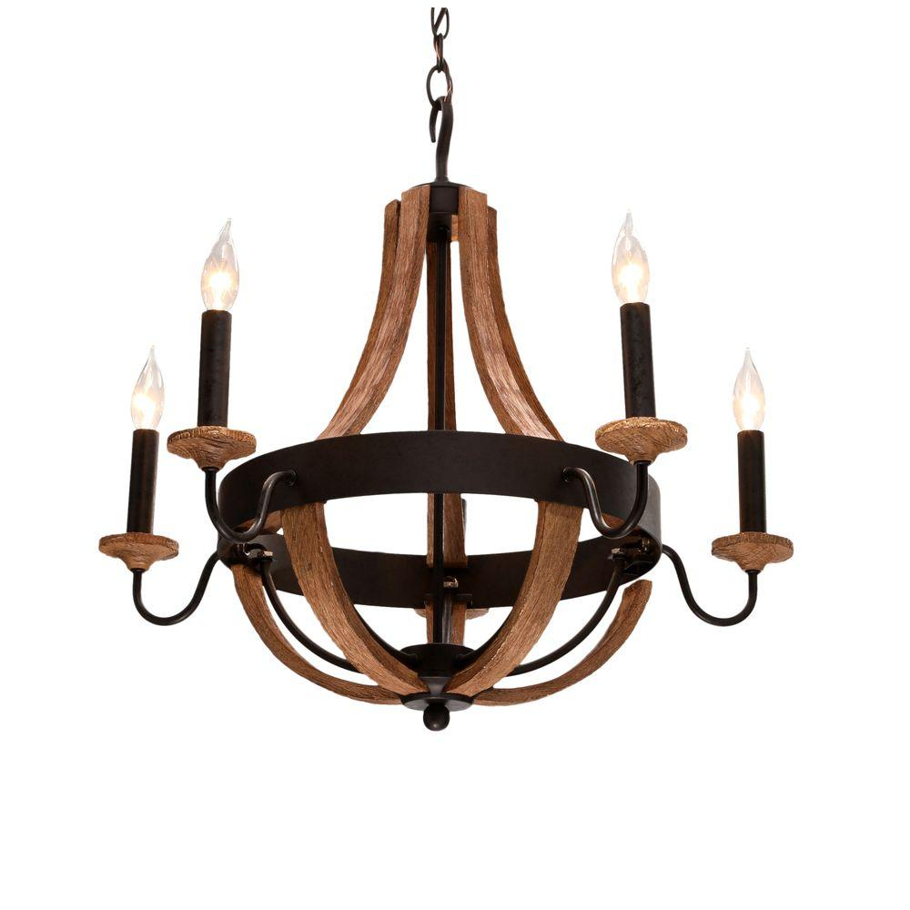 talo 5-light driftwood chandelier FOPNMRA
