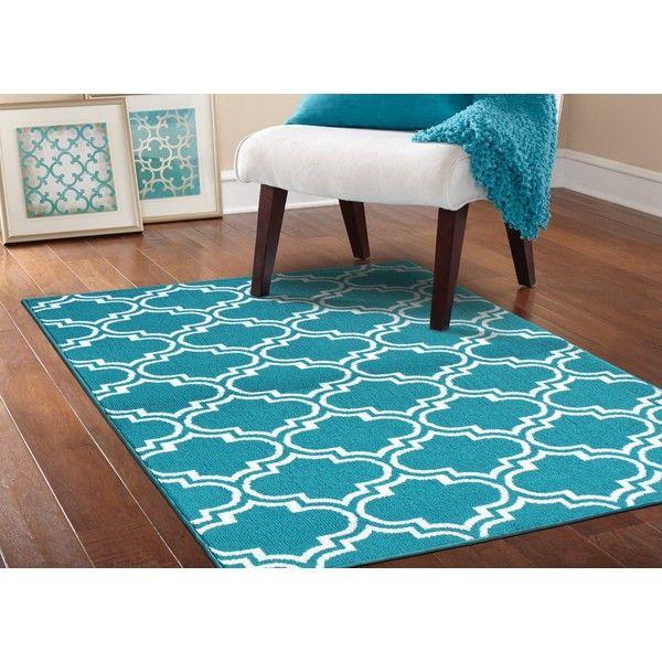 teal rug garland rug silhouette area rug, 5 by 7-feet, teal/white ( LYUXJFY