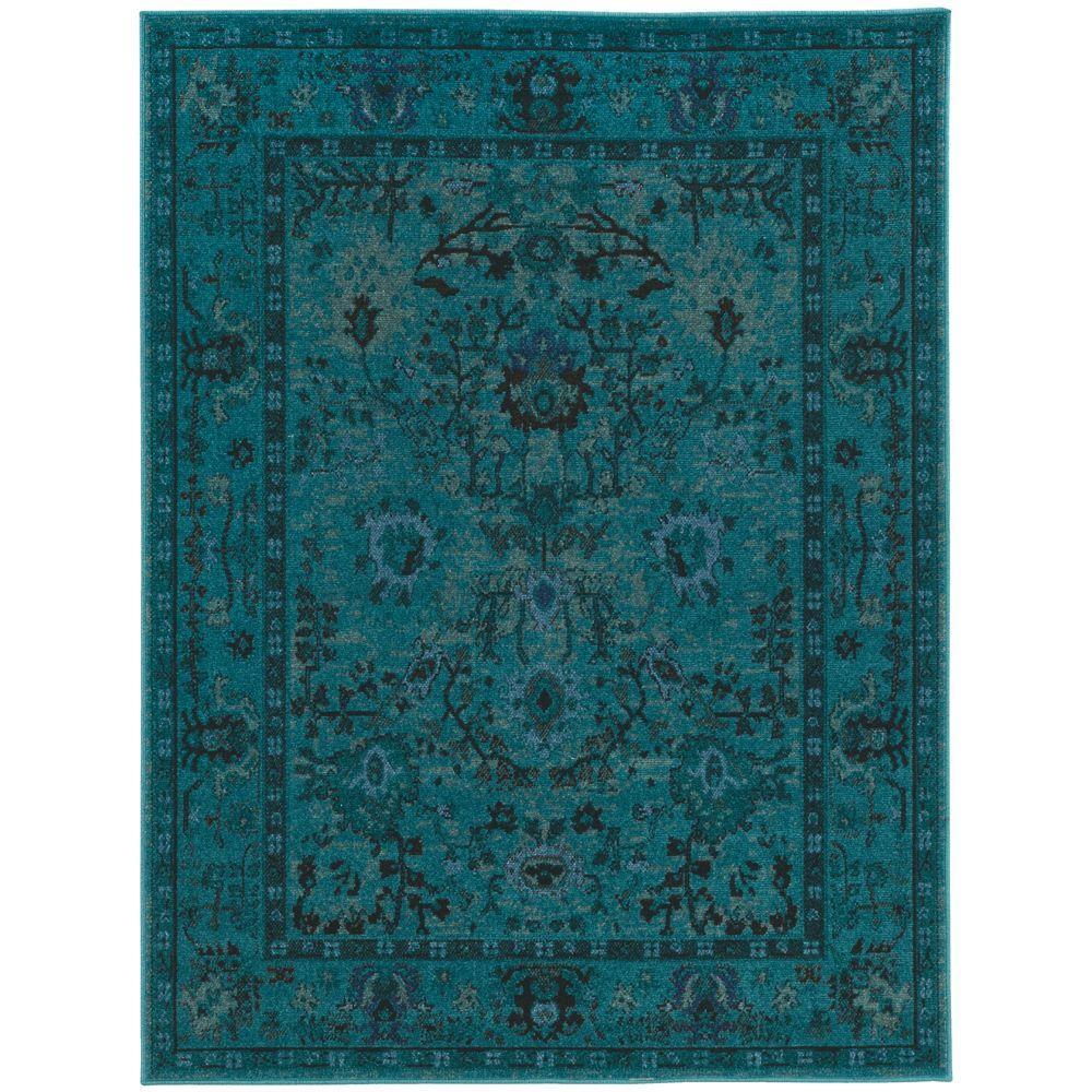 teal rug overdye teal 5 ft. 3 in. x 7 ft. area rug HATJXBC