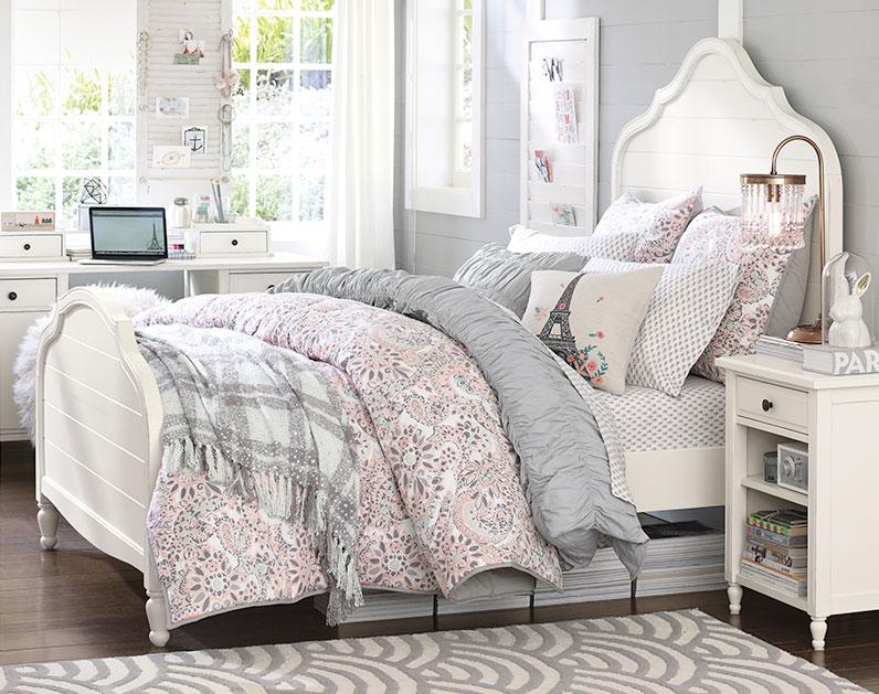 teen girl bedroom ideas soft grey, soft pink, white color scheme teenage girl bedroom ideas | LOYFEWV