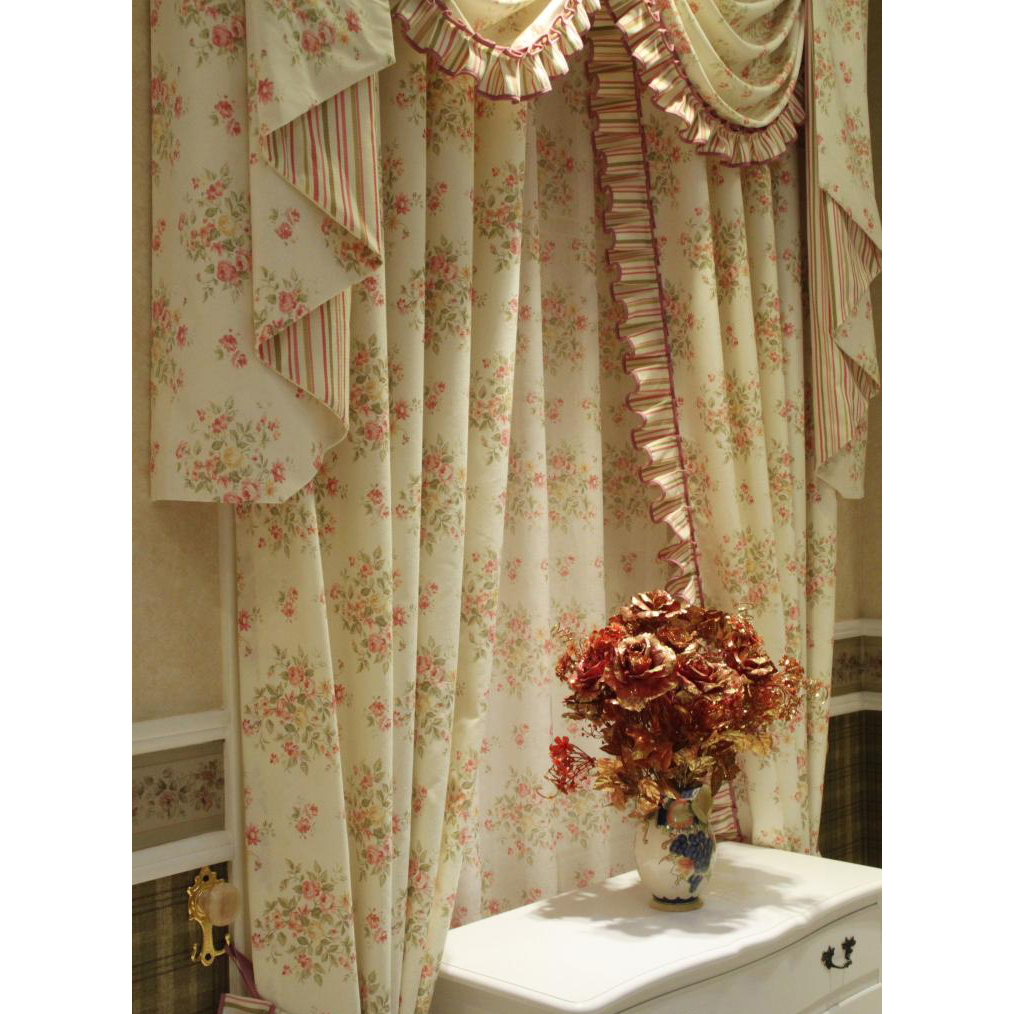 thick floral light beige shabby chic curtains YUETTGU
