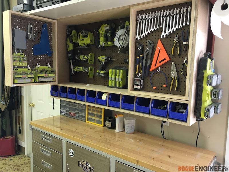 tool storage diy-pegboard-tool-storage-wall-unit-rogue-engineer- LVVYRIW