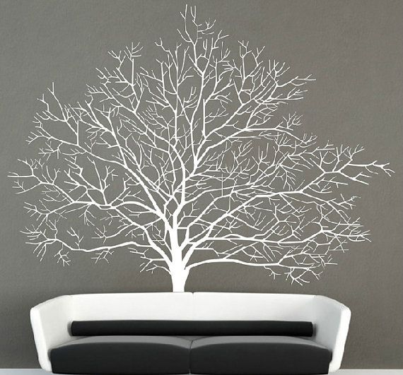 tree wall decals large tree wall decal vinyl winter tree wall by walldecorative XUAQORV